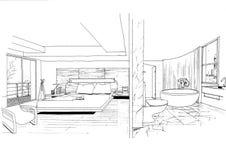 Sketc interno di paesaggio della costruzione di architettura Fotografie Stock Libere da Diritti