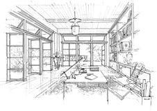 Sketc interno di paesaggio della costruzione di architettura Immagine Stock