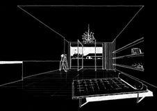 Sketc interno di paesaggio della costruzione di architettura Fotografia Stock Libera da Diritti