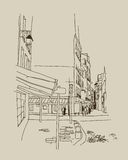 SKETCH. Old streets Stock Images
