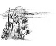 Sketch. Of the abstract landscape Stock Photo