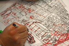 Sketch. Architect sketching while at work Stock Photography