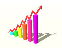 Sketch of 3d colorful bar graph. With arrow Stock Photos