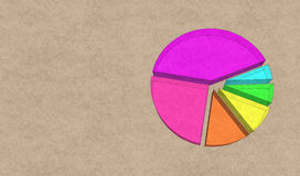 Sketch of 3d pie graph with paper background Royalty Free Stock Images