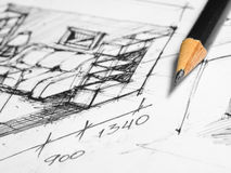 Sketch. Project interior design. Pencil sketch drawings stock images