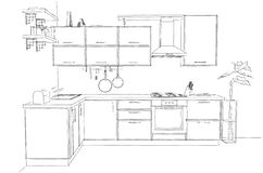 Sketch abstract contour drawing of 3d contemporary corner kitchen interior black and white Royalty Free Stock Photos