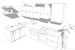 Sketch abstract drawing of 3d modern corner kitchen interior black and white. Sketch of modern corner kitchen. 3d abstract illustration. Black wire lines on Royalty Free Stock Images