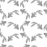 Sketch of abstract fish. Seamless pattern.