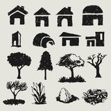 Sketch of abstract home and tree Royalty Free Stock Images