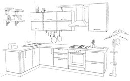 Sketch abstract outline drawing of modern corner kitchen interior black and white. Freehand sketch of modern corner kitchen interior. 3d abstract outline Royalty Free Stock Images