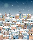Sketch of abstract snowy village under night sky Royalty Free Stock Images