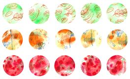 Sketch abstract watercolor circle texture. Red, orange, green circle elements for design.