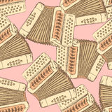 Sketch accordion music instrument. In vintage style, vector seamless pattern Royalty Free Stock Photos