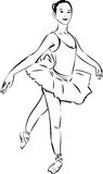 Sketch of the actress in ballerina tutu Stock Images