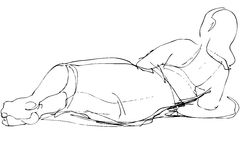 Sketch of adult woman loafing Stock Photos