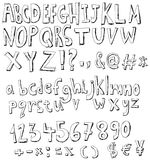 Sketch alphabet. Alphabet, numbers and signs doodle set stock illustration