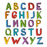 Sketch alphabet font colored Stock Photo