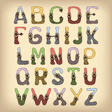 Sketch alphabet font colored Royalty Free Stock Images