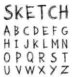 Sketch Alphabet font line - Vector illustration Royalty Free Stock Images
