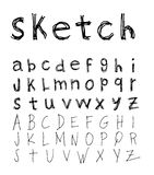 sketch Alphabet font line - Vector illustration Stock Photography
