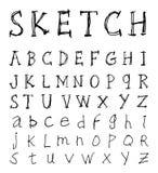Sketch Alphabet font line - Vector illustration Stock Photos