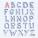 Sketch alphabet font notebook. Sketch hand drawn 3d doodle alphabet letters on squared notebook page isolated vector illustration Stock Photos