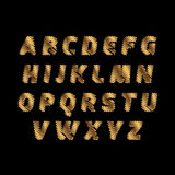Sketch Alphabet - golden color letters are made like a scribble. Vector concept collection of gold sketch fonts isolated on white Stock Images