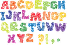 Sketch Alphabet - scribble. Sketch Alphabet - different colors letters are made like a scribble Stock Photo