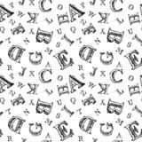Sketch alphabet seamless pattern Royalty Free Stock Photo
