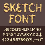 Sketch Alphabet set. Hand drawing sketch alphabet with numbers Royalty Free Stock Photo