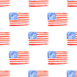 Sketch american flag in vintage style. Seamless pattern Royalty Free Stock Photography