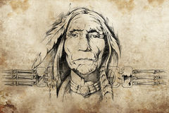 Sketch of American Indian elder Royalty Free Stock Images