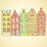 Sketch Amsterdam hauses in vintage style Royalty Free Stock Image