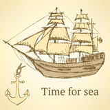 Sketch anchor and ship in vintage style Royalty Free Stock Photography