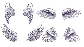 Free Sketch Angel Wings. Hand Drawn Different Wings With Feathers. Black Bird Wing Silhouette For Logo, Tattoo Or Brand Stock Images - 182932994