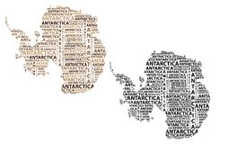 Map of continent Antarctica - vector illustration. Sketch Antarctica letter text continent, Antarctic word - in the shape of the continent, Map of continent stock illustration