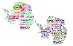 Map of continent Antarctica - vector illustration. Sketch Antarctica letter text continent, Antarctic word - in the shape of the continent, Map of continent royalty free illustration