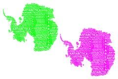 Map of continent Antarctica - vector illustration. Sketch Antarctica letter text continent, Antarctic word - in the shape of the continent, Map of continent vector illustration