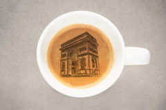 Sketch Arc de Triomphe Coffee φλυτζάνι Στοκ φωτογραφία με δικαίωμα ελεύθερης χρήσης