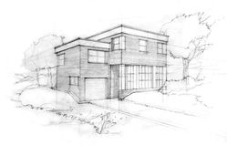 Sketch of an architect. Sketch of a modern cubic house. First idea of an architect Royalty Free Stock Image