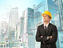 Sketch of an architect. Urban city with sketch of an architect Royalty Free Stock Image