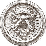 Sketch of an architectural detail on an ancient building Royalty Free Stock Images