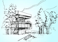Sketch the architecture House illustration. Illustration vector sketch the architecture House with tree Royalty Free Stock Image