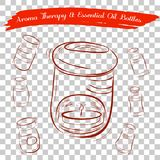 Sketch of Aroma Therapy Oil Burner and Essential Oil Bottles, at Transparent Effect Background Stock Photo