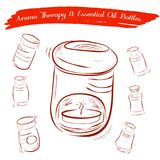 Sketch of Aroma Therapy Oil Burner and Essential Oil Bottles Stock Photography