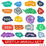 Sketch arrow set Stock Images