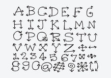 Sketch arrows alphabet  , Arrow font A through Z and numbers Stock Image