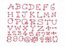 Sketch arrows alphabet  , Arrow font A through Z and numbers Stock Photo