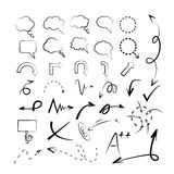 Sketch arrows, sketch bubbles. Of art work and web design stuff Royalty Free Stock Photos