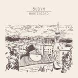 Sketch art panorama of Budva Montenegro, vintage travel postcard Stock Photos